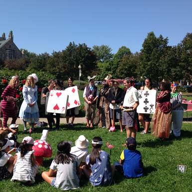 Croquet and a Mad Hatter Tea Party in Westmount Park next to the library.